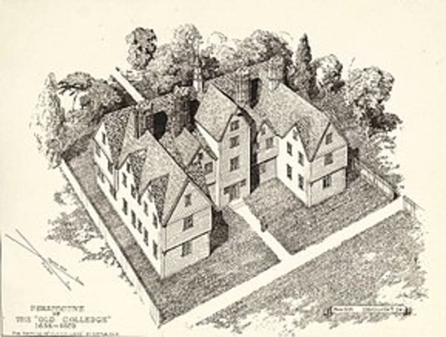 First university in colonies founded (Harvard College)