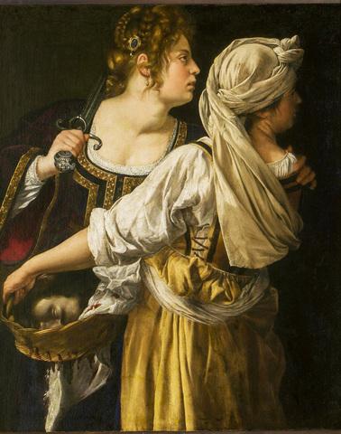 ARTEMISIA dipinge Giuditta con la testa di Oloferne