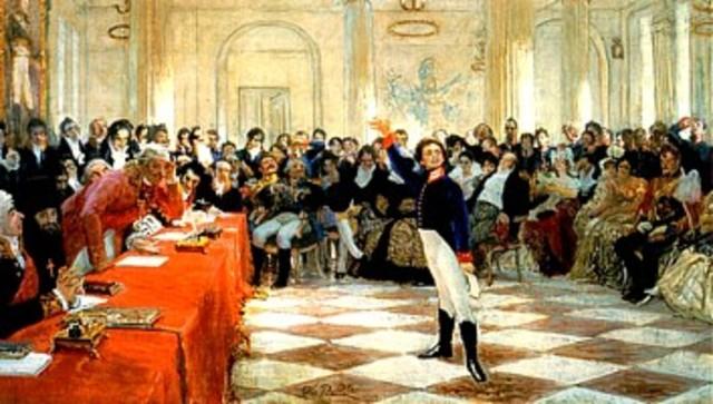 """Пушкин читает на экзамене в присутствии Державина """"Воспоминания в Царском Селе""""."""