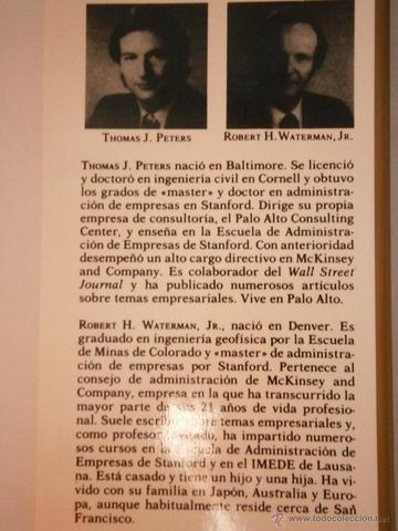 Thomas Peters y Robert Waterman Jr. (Pensamiento administrativo moderno)