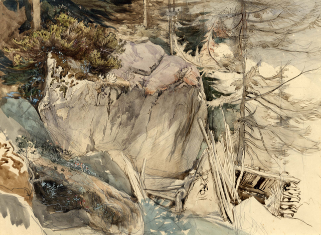 Mountain Rock and Alpine Rose - John RUSKIN