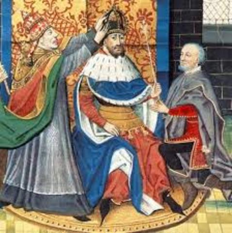 Carlomagno es coronado emperador del Sacro Imperio Romano por el papa León III en Roma