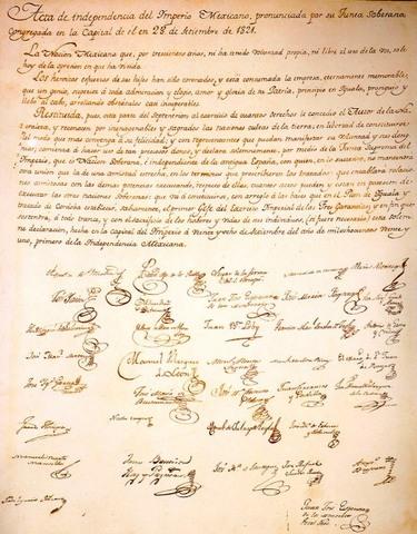 Firma y promulgación del Acta de Independencia de la América Septentrional.