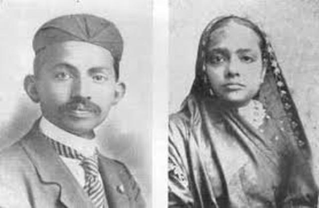 Mohandes Gandhi Marries Kasturbai in and Arranged Child Marriage