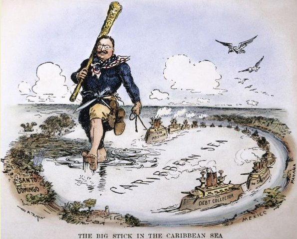 "Theodore Roosevelt used the word ""Big Stick Diplomacy"" to describe his foreign policy."