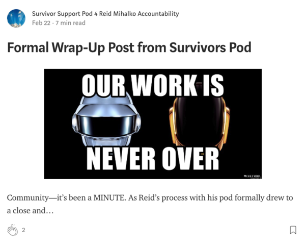 Survivor Support Pod posts Formal Wrap-Up Post from Survivors Pod on Medium