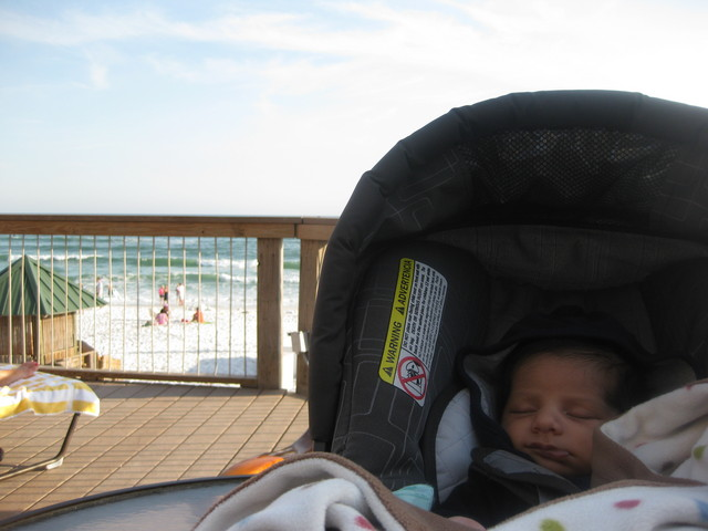 His first trip to the beach