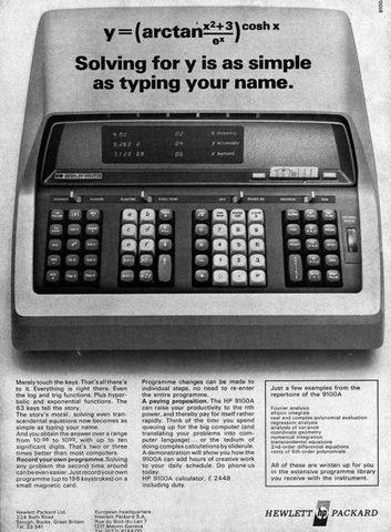 Comercializa la primera calculadora científica (HP-35)