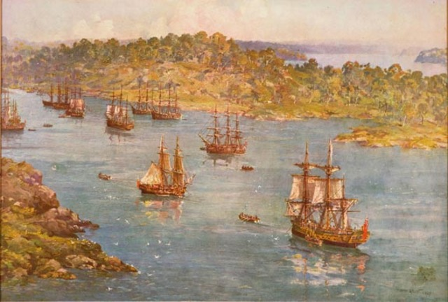 First Fleet arrives at Sydney Cove
