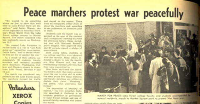 Lake Forest College students protest the Vietnam War