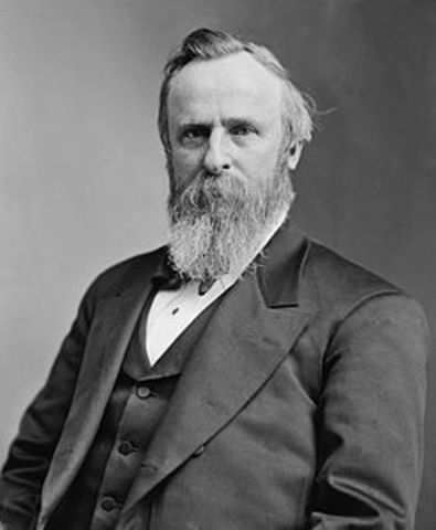 Rutherford B. Hayes elected as 19th President.