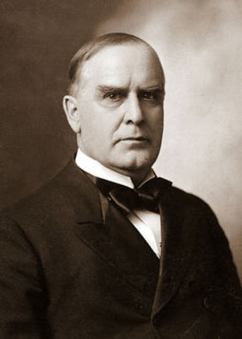 William McKinley elected as 25th President of the U.S.