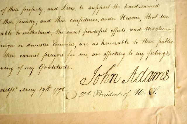 John Adams Signature on the XYZ Act