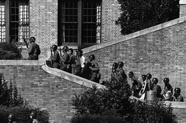 Melba's first day of school at Little Rock Central High School