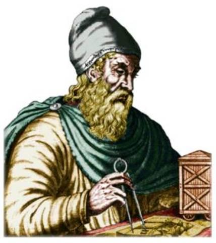 """Euclides, matemático griego.""""Elementos de geometría"""""""