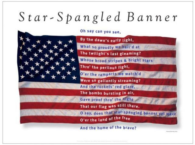 """The """"Star Spangled Banner"""" was written by Francis Scott Key"""