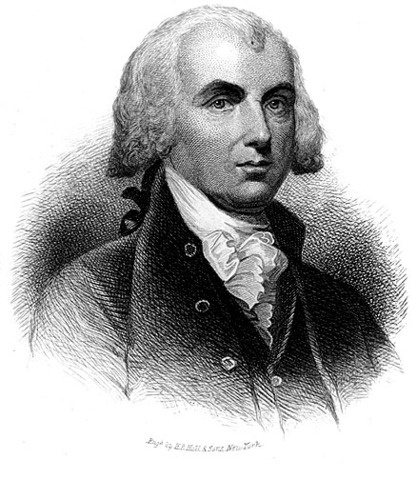 James Madison Madison becomes first president inaugurated in American-made clothes.