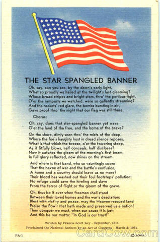 """the """"Star-Spangled Banner"""" was written by Francis Scott Key"""