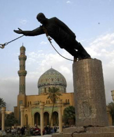 Saddam Hussein's Statue is toppled in Central Baghdad
