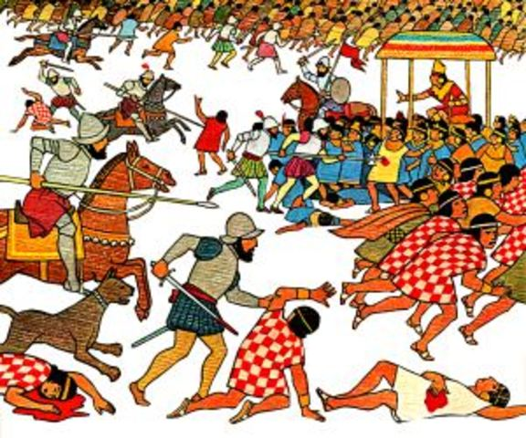 The Spanish massacre thousands of Aztecs while preparing for their religious festival