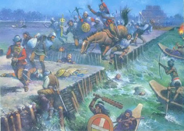 The Spanish attempt to escape from Tenochtitlan but are stopped by the Aztecs - later referred to as the Noche Triste