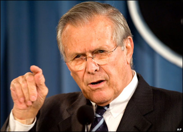"Donald Rumsfeld announces, ""we know where the WMD are"""