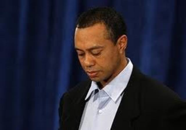 Rumors of Tiger having an extramarital affair being spread, and he was guilty, women came forward about sexual relations, and he eventually apologized during press conference.