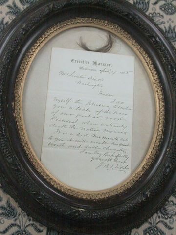 Lock of Lincoln's Hair and Note of Gratitude