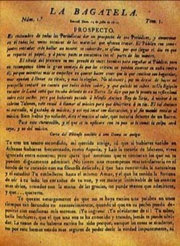 Antonio Nariño publica La Bagatela