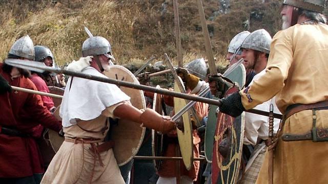 Vikings attack Lindisfarne.
