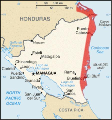 La soberanía nicaragüense sobre la Costa de Mosquitos.