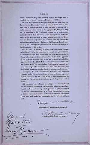 Truman Signs Marshall Plan