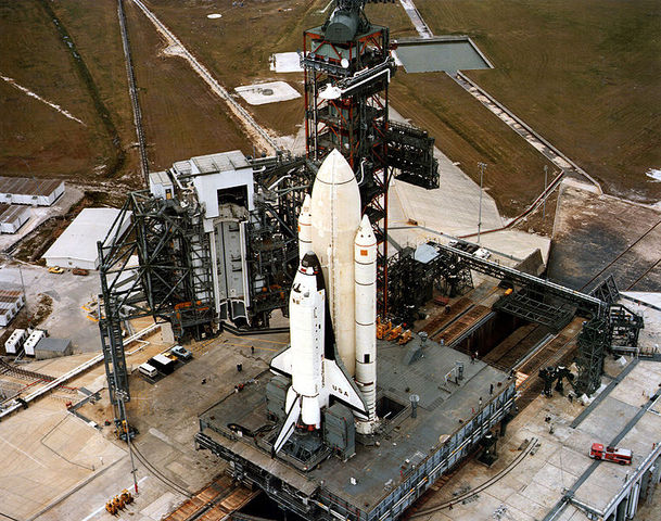 The first American space shuttle is launched