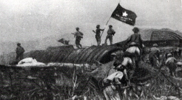 The Vietnamese celebrate their victory over the French