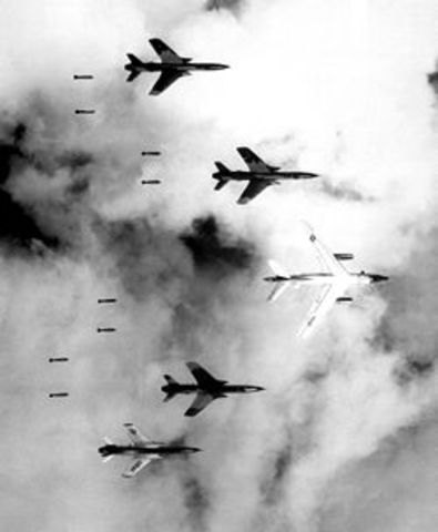 The American's begin to attack North Vietnam's airfields.