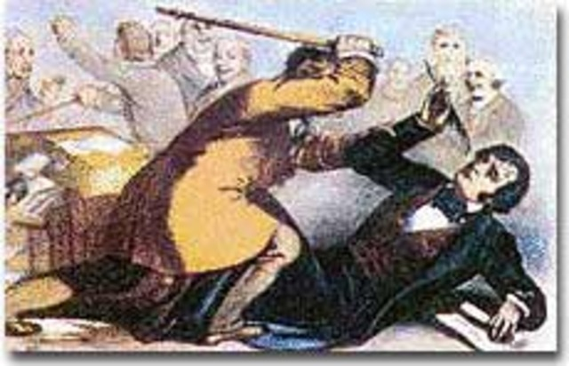 Charles Sumner is Attacked by Preston on the Floor of the Senate