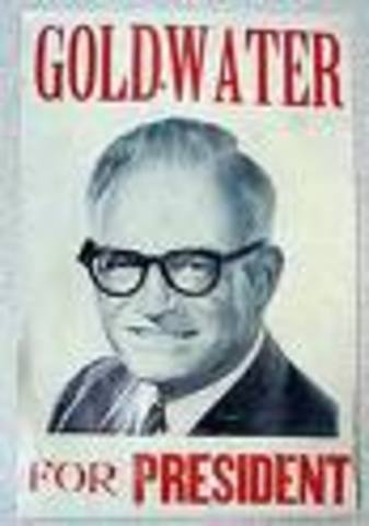Barry Goldwater runs on a conservative platform and loses to LBJ in a landslide