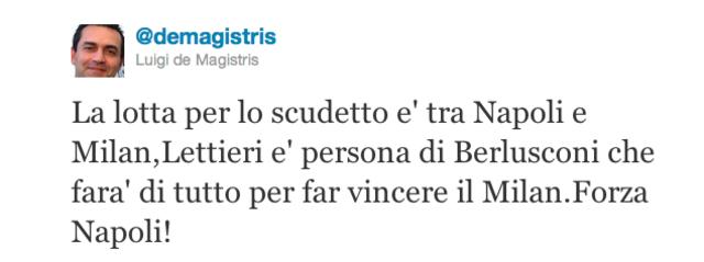 """De Magistris: """"Lettieri è persona di Berlusconi e farà vincere il Milan"""""""