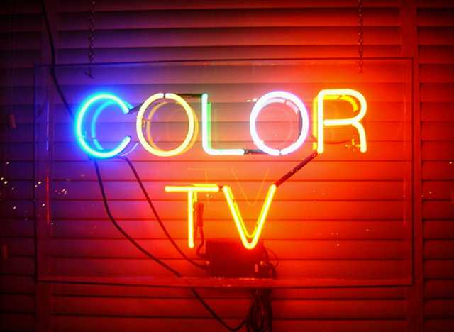 Demonstration of color TV