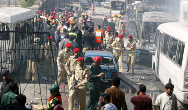 """A <a href=""""http://www.nytimes.com/2008/03/05/world/asia/05pstan.html"""" rel=""""nofollow"""">double suicideattack on the Pakistani navy's war college</a> in Lahore kills four people."""