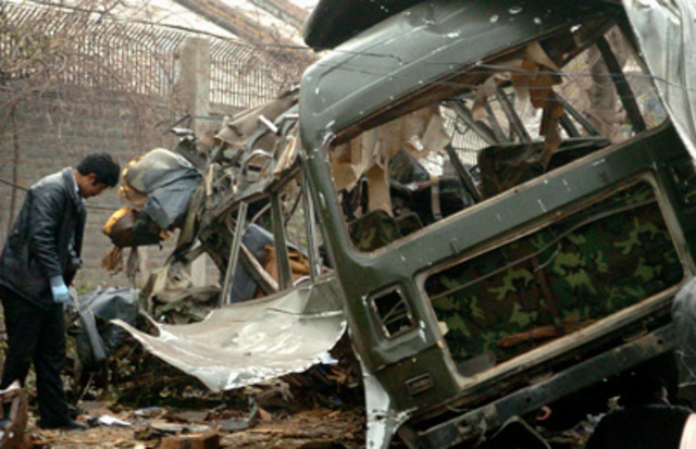 """A <a href=""""http://www.nytimes.com/2008/02/04/world/asia/04pakistan.html"""" rel=""""nofollow"""">suicide attack on a minibus</a> carrying security personnel in Rawalpindi kills six."""