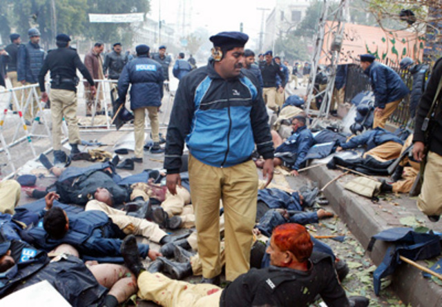 """<a href=""""http://www.nytimes.com/2008/01/11/world/asia/11pakistan.html"""" rel=""""nofollow"""">An attack on police</a> guarding a protest route in Lahore kills 23 people."""