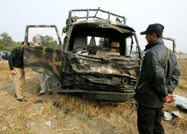 """A <a href=""""http://www.nytimes.com/2007/12/11/world/asia/11pakistan.html"""" rel=""""nofollow"""">suicide attack on a military truck carrying schoolchildren</a> outside a Pakistani airforce base in Swat wounds seven."""