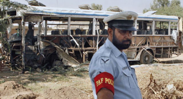 """A <a href=""""http://query.nytimes.com/gst/fullpage.html?res=9902E1DB1F3BF932A35752C1A9619C8B63"""" rel=""""nofollow"""">suicide attack on a Pakistani air force bus</a> near Sargodha, Punjab kills five people."""