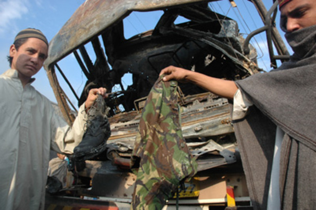 """An attack on a <a href=""""http://www.nytimes.com/2007/10/26/world/asia/26pakistan.html"""" rel=""""nofollow"""">truck carrying Frontier Constabulary members</a> in Mingora, Swat kills 20 people."""