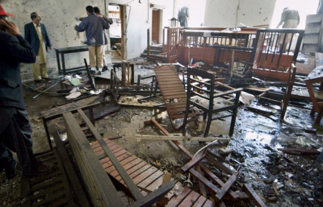 """A <a href=""""http://www.nytimes.com/2007/02/18/world/asia/18pakistan.html"""" rel=""""nofollow"""">suicide attack on a district courtroom</a> in Quetta kills 15 people."""