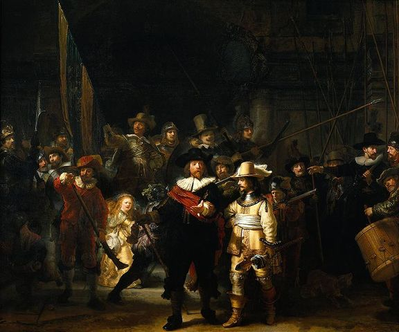 Rembrandt paints 'The Night Watch'