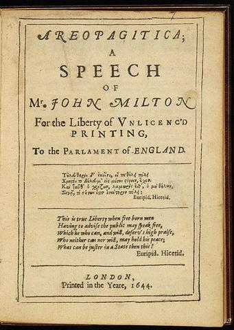 Milton publishes Areopagitica - on liberty of the press