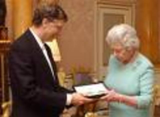 Queen Elizabeth II bestows an honorary knighthood on Bill Gates for his contribution to the united kingdom