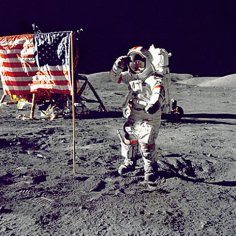 Neil Armstrong of US Becomes First Man to Walk on Moon